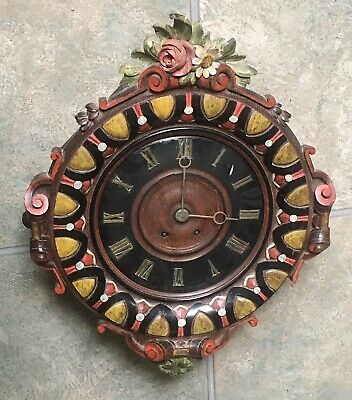 Antique French Carved Painted Walnut Cartouche Vineyard Wall Clock Vincenti 22""