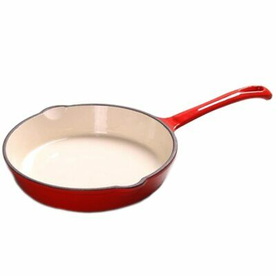 Chef's Quality Cast Iron Enamel Skillet Frying Pan, Heavy Duty Cookware