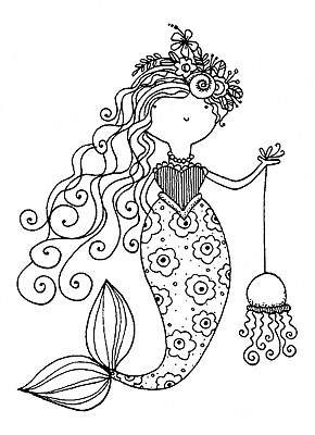 J10027 Mermaid Wood Mounted Rubber Stamp IMPRESSION OBSESSION NEW