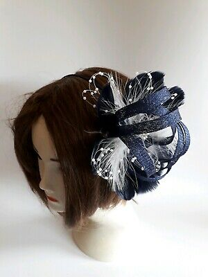 Navy Ivory Fascinator hairband Wedding Ladies Day Races