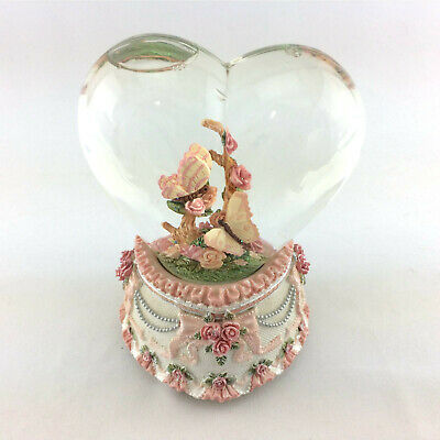 Heart Shaped Musical Snow Globe Pink Butterflies Wedding Theme Sankyo Music Box