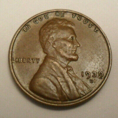 1939-D   Lincoln Wheat Cent  vf  free shipping