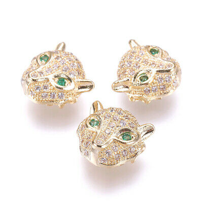 10x Brass Micro Pave Cubic Zirconia Beads Leopard Real Gold Plated  Hole: 1mm