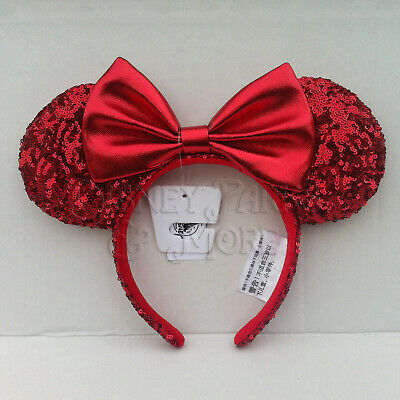 Disney Parks Pirate Redd Red Sequin Minnie Mouse Ears Headband - Size Adult