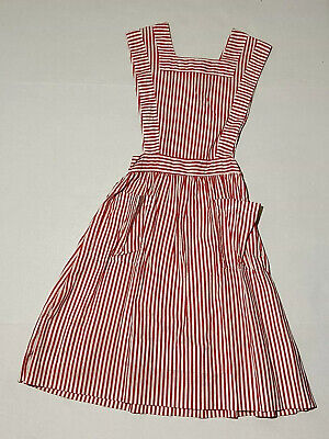 Vtg Candy Striper Uniform Dress Apron Red White Pinafore Stripe Hospital 1950s