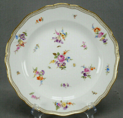 Meissen Hand Painted Floral Insects & Gold 10 Inch Dinner Plate Circa 1860-1924