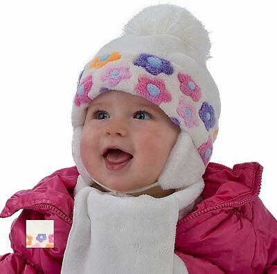 For Kids Baby Girl Hat & Scarf Infant Girls Set Winter Size 6-24 Mths 2-3 Years