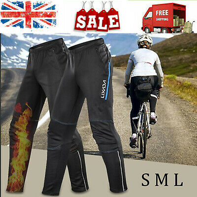 Men Waterproof Cycling Pants Thermal Fleece Windproof Winter Pants Trousers V8C4