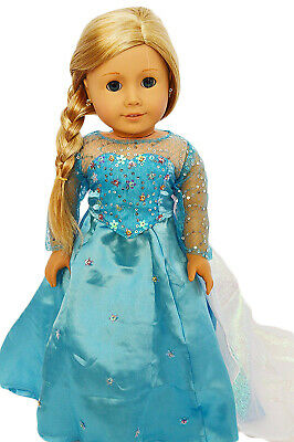 Elsa Inspired Doll Dress Fits 18 Inch American Girl Doll Clothes