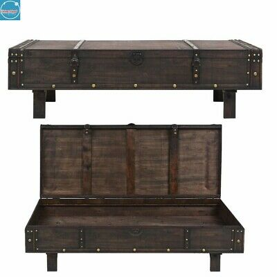 Vintage Coffee Table Large Chest Trunk Storage Box Solid Wooden Side/End Tables