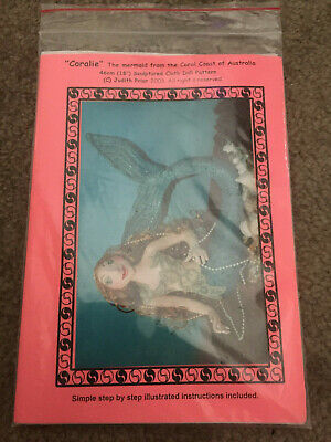 "Cloth Doll Pattern ~ Coralie Mermaid ~ 18"" By Judith Prior 2003"