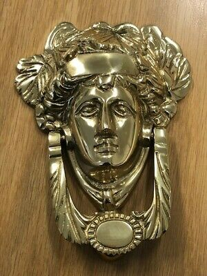 Vintage  Architectural  Brass Medusa Head Gold Baroque Door Knocker 18cm x 11cm