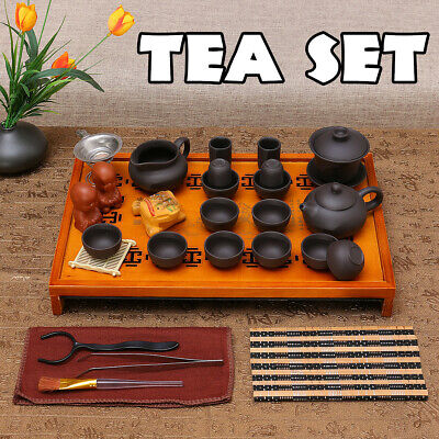 Chinese Kung Fu Tea Set Tea Ceremony Purple Clay Teapot Cup + Wood Tray Gift AE