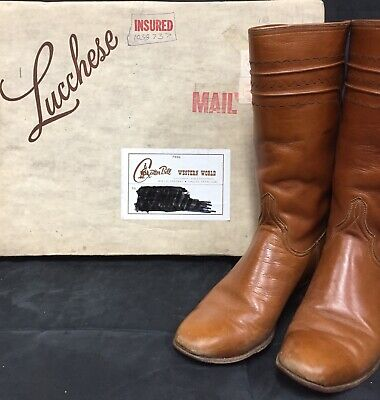 Lucchese Handmade Womans Leather Cowboy Calf Boots Light Brown Size 6A