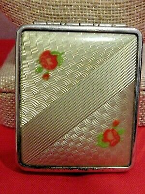 Vintage Hinged Square Powder Compact Gold Tone Enamel Roses Flowers