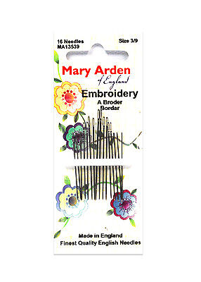 Mary Arden Embroidery Needles Sizes 3/9