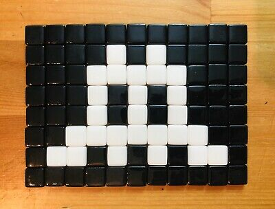 Space Invader Mosaic Art - Black and White Replica #2