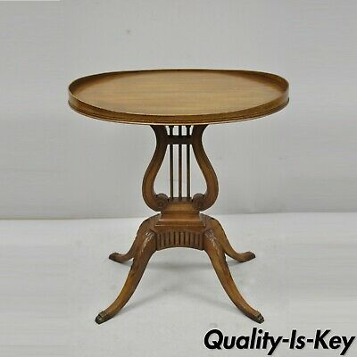 Antique Mersman Lyre Harp Form Victorian Style Mahogany Accent Side Table