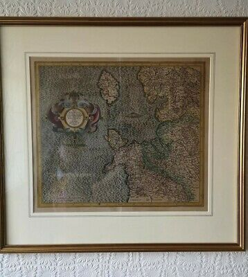 Antique atlas map, NORTH WEST ENGLAND, NORTH WALES, Mercator, Framed, c.1613