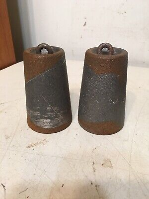 Pair Of 30 Hour Ogee Or Wooden Works Iron Clock Weights #2