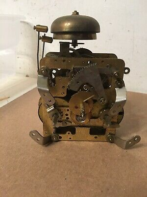 Vintage Franze Hermle 2 Bell Strike French Boulle Style Mantle Clock Movement