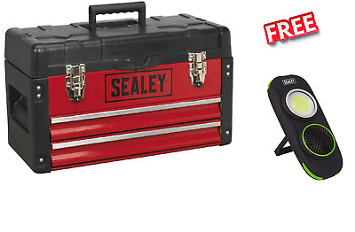 Sealey Toolbox with 2 Drawer Ball Bearings 500mm + Tote Tray RED BLACK