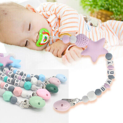 Dummy Clip Holder Pacifier Clips Teething Baby Bead Silicone Chains Soother Toy