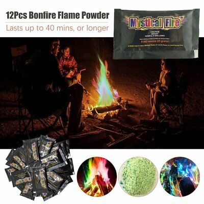 MYSTICAL FIRE 12 pkts Magical Fire Colourful changing Flames Campfire Fun uJ