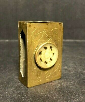 Old Antique China 1900-1940 Hand Carved Jade Brass Match Box Holder Etched Motif