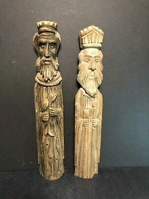 Old Antique Pair Unique Hand Carved Folk Art Wood Wall Hanging King Sculptures
