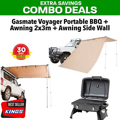 Adventure Kings Awning 2x3m +  Awning Side Wall + Gasmate Voyager Portable BBQ