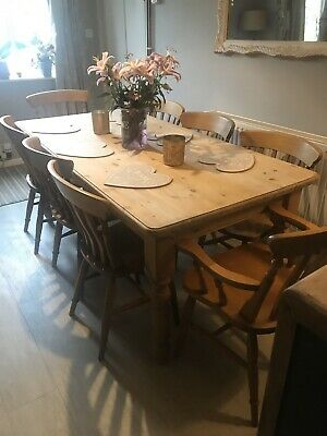 Large Solid Pine Rustic Farmhouse 6ft Dining Table And 8 Kitchen Chairs 6x3ft