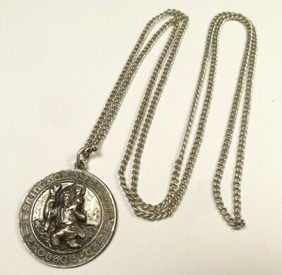 Vintage A. Gale Saint Christopher Protect Us Catholic Medal Curb Chain Sterling