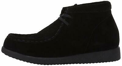 Kids Hush Puppies Boys Classic Fabric Ankle Lace Up Snow, Black Suede, Size 6.5