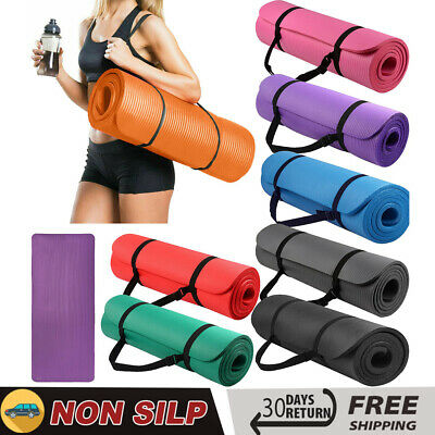 Yoga Mat 15mm Thick Non-Silp for Pilates Gym Exercise Carry Strap Fitness Mat