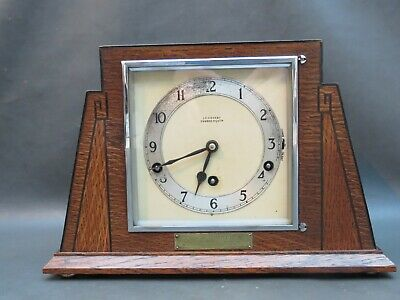 Vintage Art Deco wooden Garrard mantle clock with balance & Westminster chimes