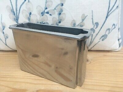 Brushed Steel Silver Rectangular Napkin Holder Dispenser / Flower Vase
