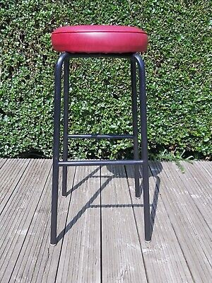 Vintage Retro Steel tubular Vinyl top Industrial Stool
