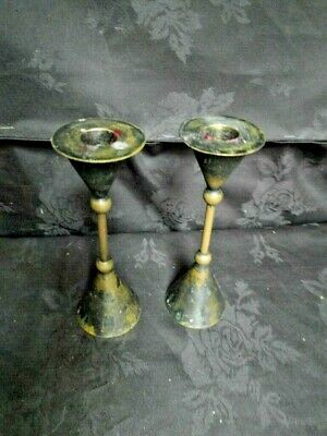 Pair of Arts And Crafts Brass Candle Sticks Holders