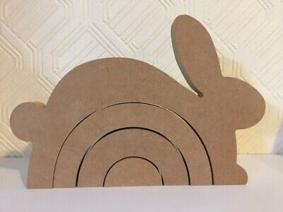 Wooden MDF 4 Part Leaping Bunny Rainbow Stacker 18mm