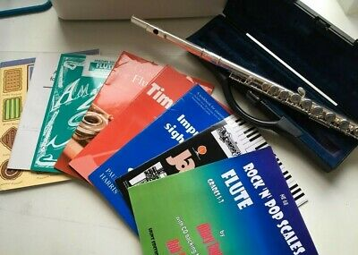 Buffet Crampon Flute and selection of beginner music books. Excellent condition