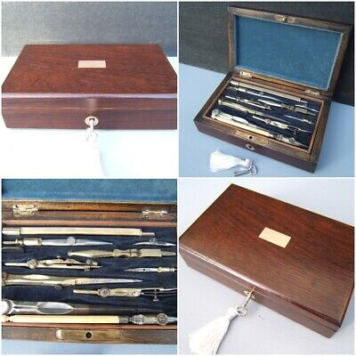 Antique Technical Drawing Instrument Box -  19C Rosewood Wonderful Interior