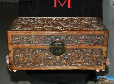 """16""""Chinese Rosewood Wood hand carved fly dragon lucky Statue storage box cabinet"""
