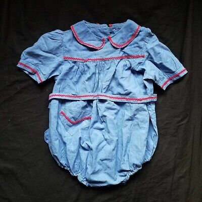 Vintage french cotton blue chambray smocked baby romper playsuit peter pan 2-3y