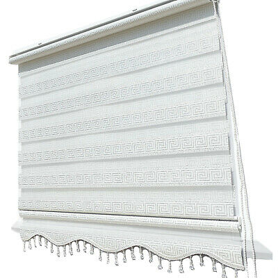 Luxury Double Roller Blinds Versace White Silver Glitter Opaque Fabric
