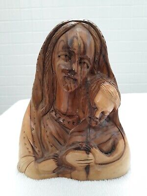 """Vintage Olive Wood Mother Mary & Child 6"""" Carved Statue Hand Made Holy Land"""