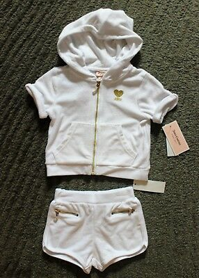 Juicy Couture Baby Girls 2 Piece Outfit (Hoodie & Shorts) - Size 24 Months - NWT
