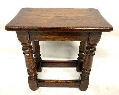 Antique Style Oak Joint Stool / Occasional Table / Lamp Stand