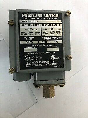 1174032 pressure switch 0-150 475 psig Rockford Safety Company