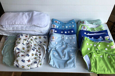 LOT CLOTH DIAPERS -FUZZIBUNZ, KA WAII BABY Diaper Rite Inserts Pocket All In Ome